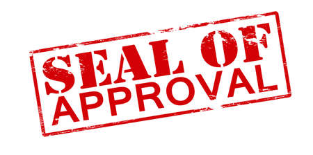 approbation: Rubber stamp with text seal of approval inside