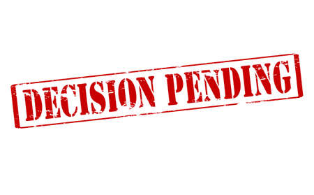 decision: Rubber stamp with text decision pending inside, vector illustration