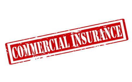reassurance: Sello de goma con el texto interior de seguros comerciales, ilustraci�n vectorial