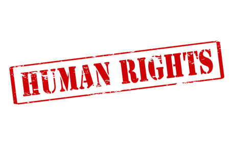 Rubber stamp with text human rights inside, vector illustration