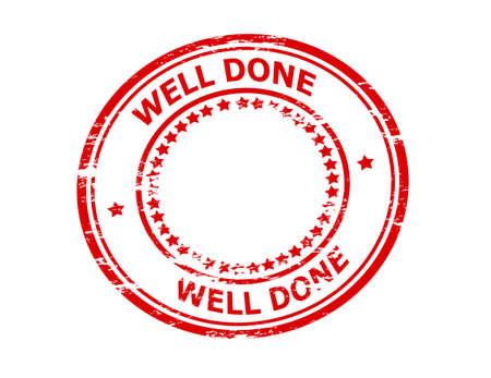 rightly: Rubber stamp with text well done inside, vector illustration Illustration
