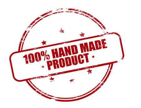 avuç: Metin yüzde yüz el yapımı ürün içinde vektör illüstrasyon Kauçuk damga
