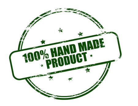 produce product: Rubber stamp with text one hundred percent hand made product inside, vector illustration Illustration