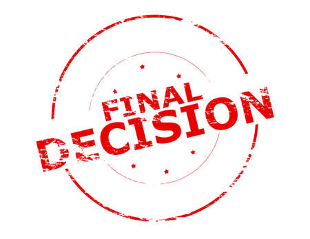 decision: Rubber stamp with text final decision inside, vector illustration