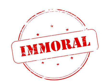 immoral: Rubber stamp with word immoral inside, vector illustration