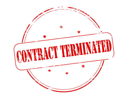 terminated: Rubber stamp with text contract terminated inside, vector illustration