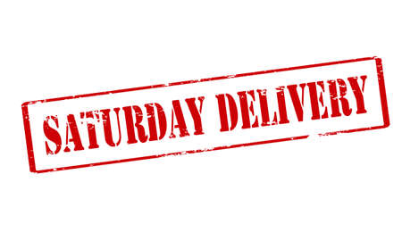 Rubber stamp with text Saturday delivery inside, vector illustration Illustration
