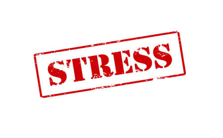 tense: Rubber stamp with word stress inside, vector illustration