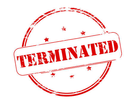 terminated: Rubber stamp with word terminated inside, vector illustration