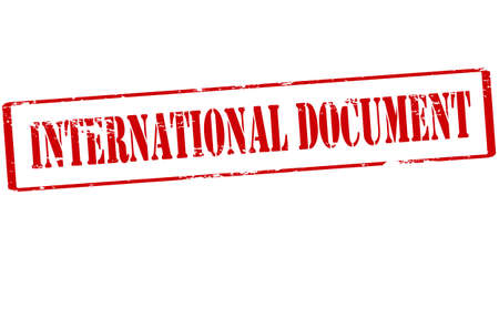 deed: Rubber stamp with text international document inside, vector illustration