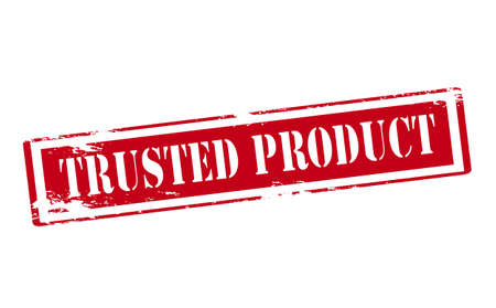 produce product: Rubber stamp with text trusted product inside, vector illustration