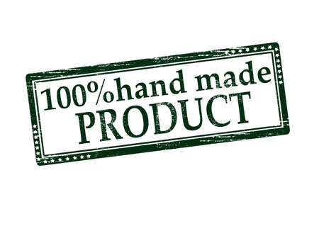 one hundred: Rubber stamp with text one hundred percent hand made product inside, vector illustration Illustration