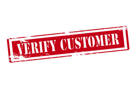 patron: Rubber stamp with text verify customer inside, vector illustration