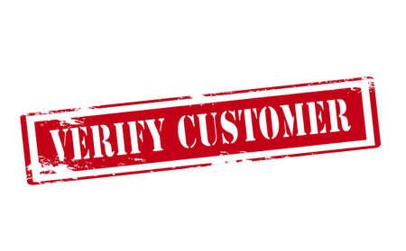 verify: Timbro di gomma con il testo verificare cliente dentro, illustrazione vettoriale