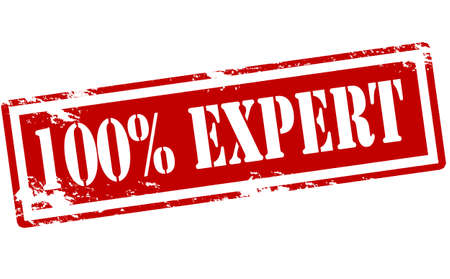 sello: Sello de goma con el texto al cien por cien expertos en el interior, ilustración vectorial