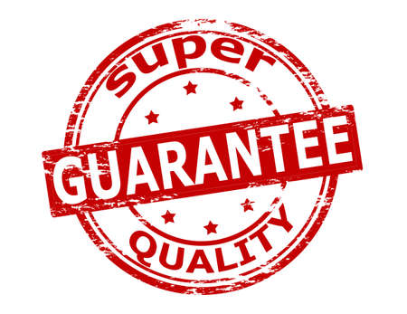 warrant: Rubber stamp with text super quality guarantee inside, vector illustration