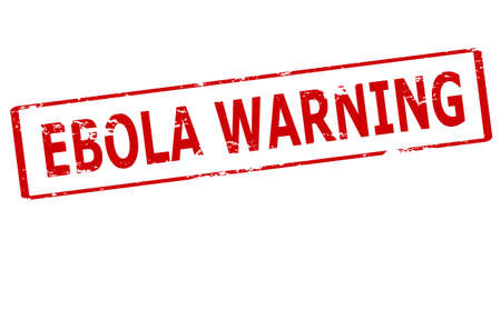 Rubber stamp with text Ebola warning inside, vector illustration