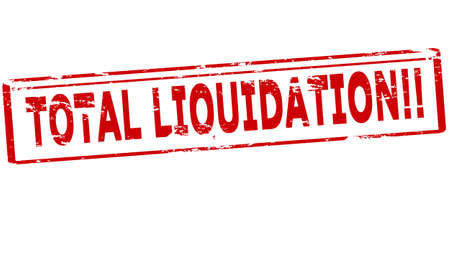 liquidation: Rubber stamp with text total liquidation inside, vector illustration