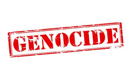 genocide: Rubber stamp with word genocide inside, vector illustration Illustration