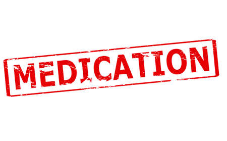 medication: Rubber stamp with word medication inside, vector illustration