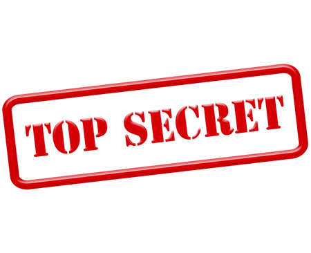 Rubberen stempel met de tekst top secret binnen, vector illustratie
