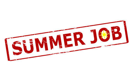 cousin: Rubber stamp with text summer job inside, vector illustration