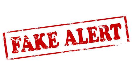 Rubber stamp with text fake alert inside, illustration