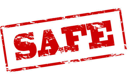 trustworthy: Rubber stamp with word safe inside, illustration Illustration