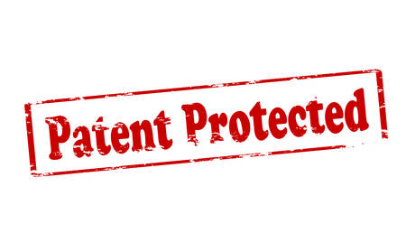 patent: Rubber stamp with text patent protected inside, illustration Illustration