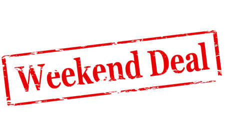 bargains: Rubber stamp with text weekend deal inside, illustration