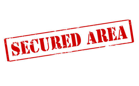 secured: Rubber stamp with text secured area inside