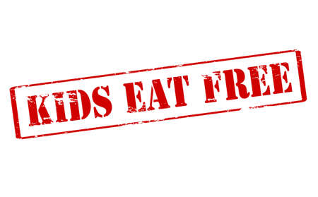 kids eat: Rubber stamp with text kids eat free inside, vector illustration