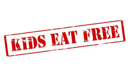 Rubber zegel met tekst kinderen eten gratis binnen, vector illustratie