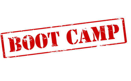 encampment: Rubber stamp with text boot camp inside, vector illustration