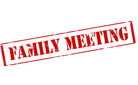 assignation: Rubber stamp with text family meeting inside, vector illustration