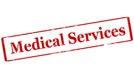medicated: Rubber stamp with text medical services inside, vector illustration