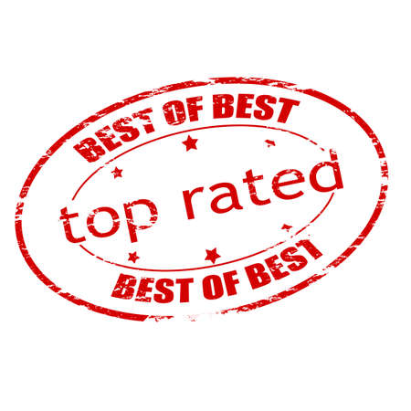 rated: Rubber stamp with text top rated inside, vector illustration