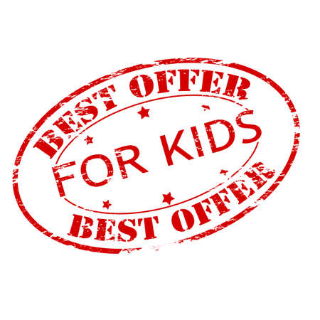 bid: Rubber stamp with text best offer for kids inside, vector illustration