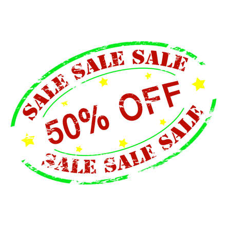 zdradę: Rubber stamp with text sale fifty percent off inside, vector illustration Ilustracja