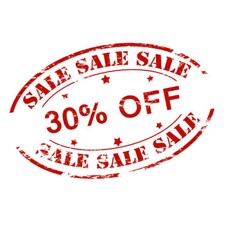 thirty percent off: Rubber stamp with text sale thirty percent off inside, vector illustration Illustration