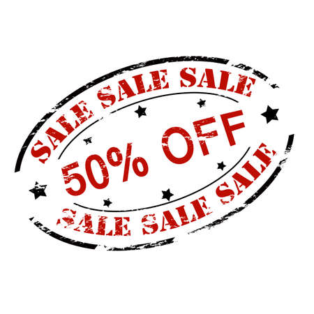 treason: Rubber stamp with text sale fifty percent off inside, vector illustration Illustration