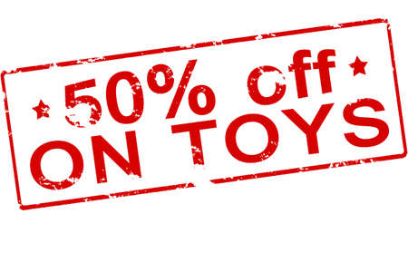 fifty: Rubber stamp with text fifty percent off on toys inside, vector illustration