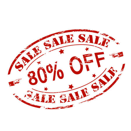 ochenta: Rubber stamp with text sale eighty percent off inside, vector illustration Vectores