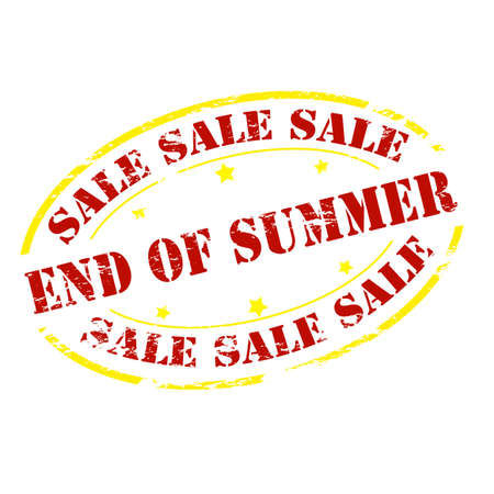 end of summer: Rubber stamp with text sale end of Summer inside, vector illustration