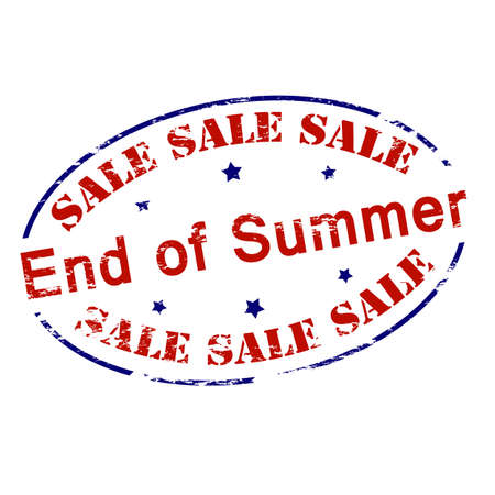 Rubber stamp with text sale end of Summer inside, vector illustration