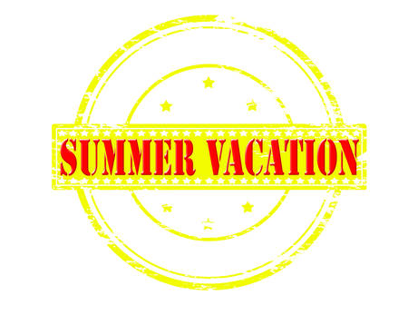 holidays vacancy: Rubber stamp with text summer vacation inside, vector illustration