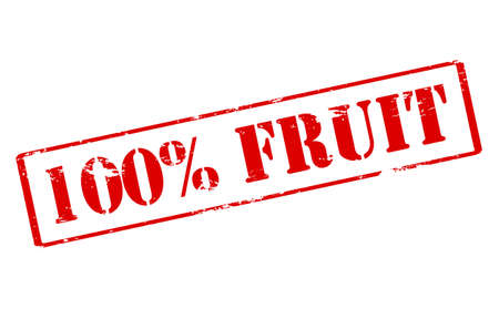 one hundred: Rubber stamp with text one hundred percent fruit inside, vector illustration