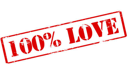 fond: Rubber stamp with text one hundred percent love inside, vector illustration Illustration