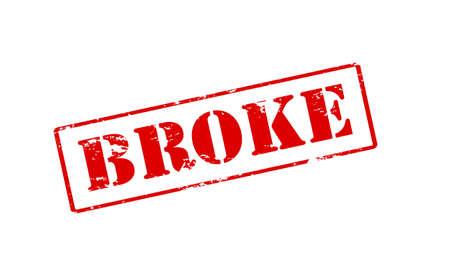 moneyless: Rubber stamp with word broke inside, vector illustration