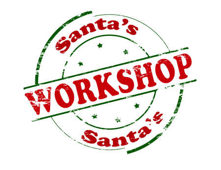 workshop: Rubber stamp with text Santa workshop inside, vector illustration